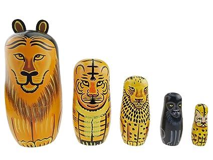 Juego De 5 Animales Tema Brillante Ruso Muneca Leon Tiger Panther