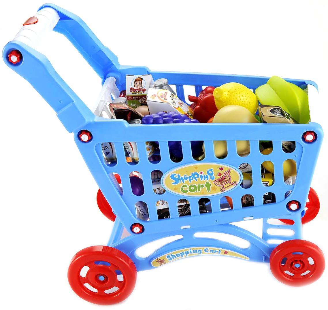 PowerTRC Mini Shopping Cart with Full Grocery Food Playset Toy for Kids -Blue