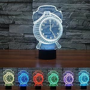 Optical 3D Light Visual Illusion Led Lamp Alarm Clock Desk Night Light Lamp  Touch Sensor Color Changing Good Looking