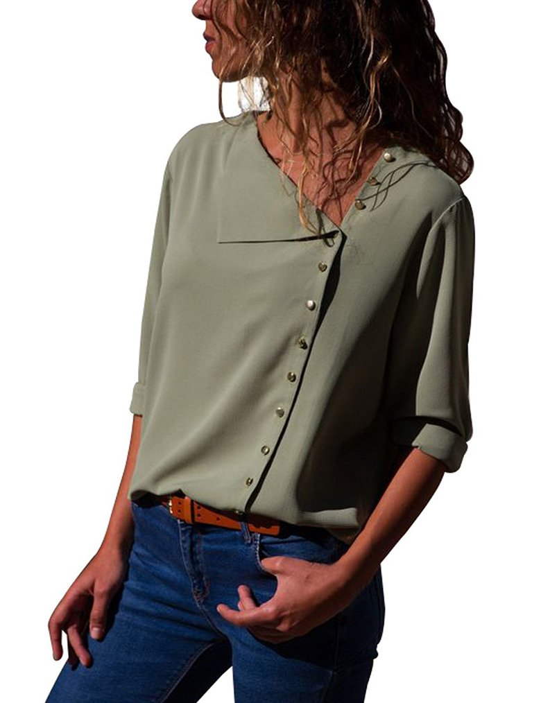 LuckyMore Women's Chiffon Long Sleeves Business Button Down Shirts Tops Blouse Army Green M