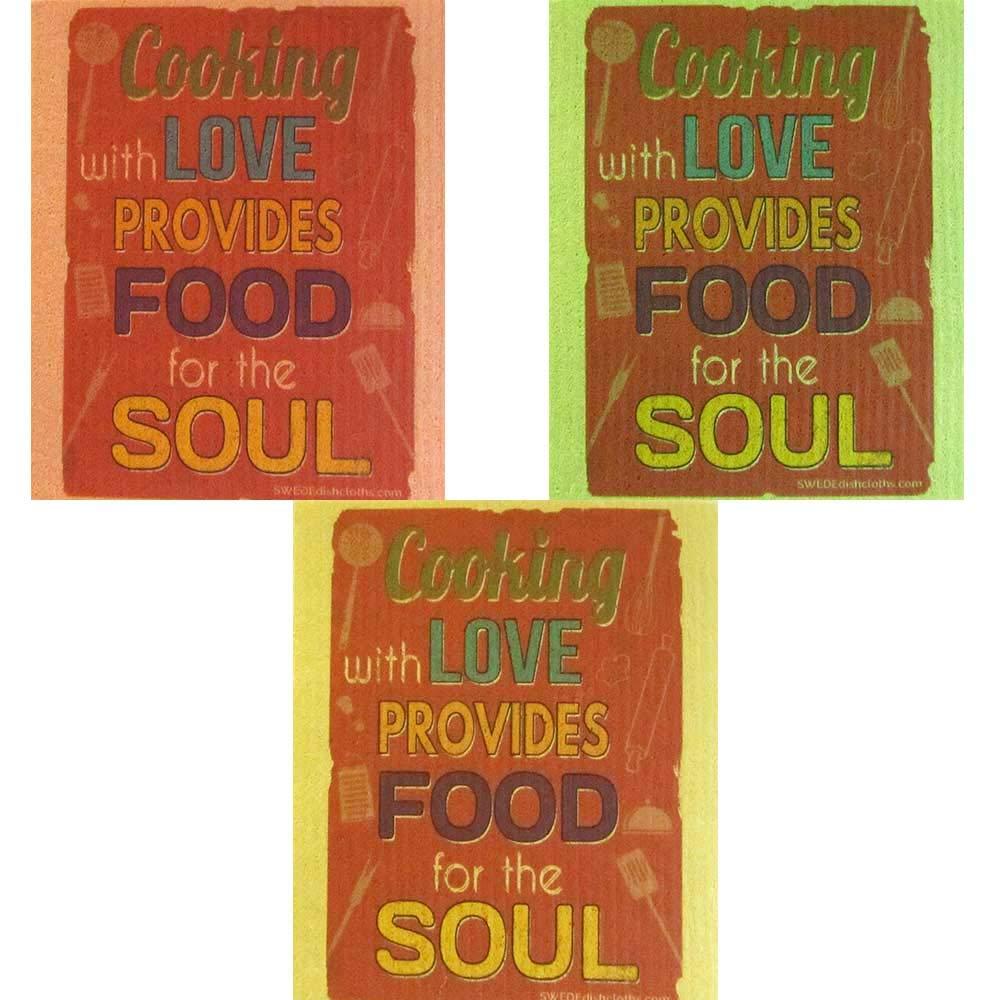 Food for The Soul 布巾3枚セット (各色1枚) スウェーデン製ディッシュクロス 環境に優しい 吸収性クリーニングクロス 再利用可能なクリーニングワイプ B07KGGTJL1