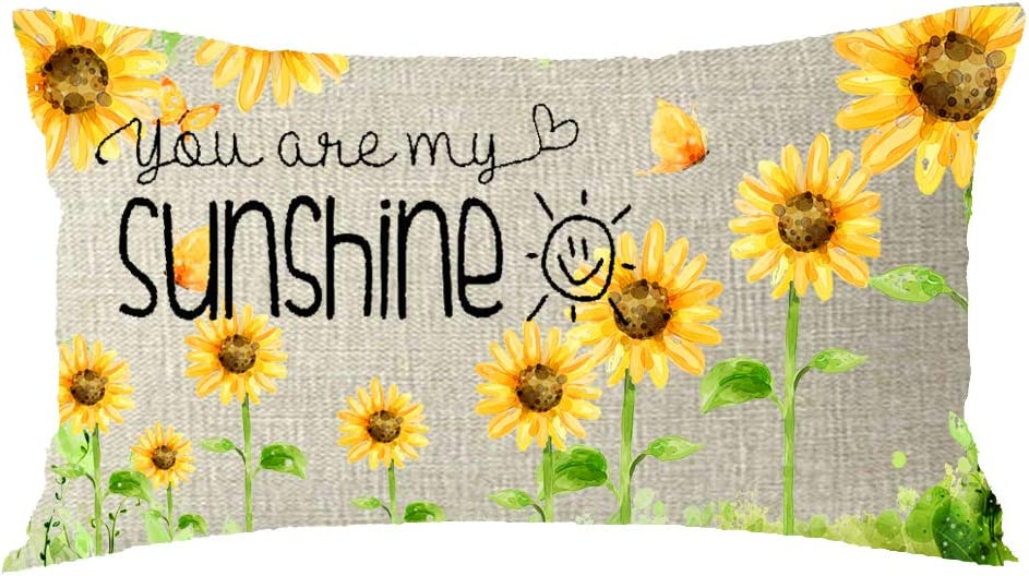You are My Sunshine Sunflower Nature Cotton Linen Throw Pillow Covers Case Cushion Cover Sofa Decorative Square 12x20 inch Decorative Pillow Wedding Birthday …
