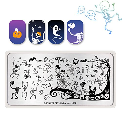 Zombie Bride Bat Halloween Day Nail Art DIY Stamping Stainless Steel Template Stencil Image Plate (L002) ()