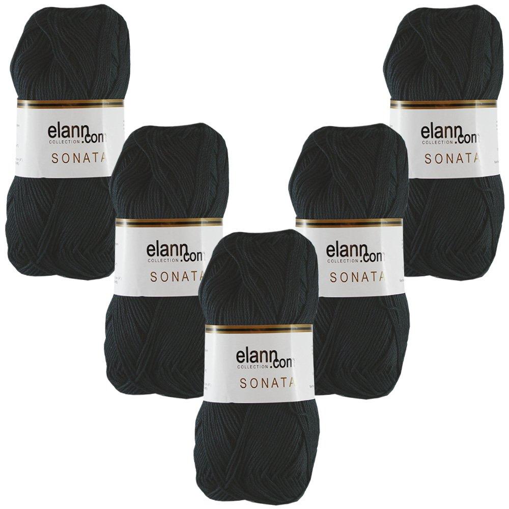 288990 Black, L909284 elann Sonata Yarn   5 Ball Bag   6319 Soft Periwinkle