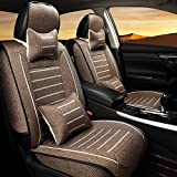 AUTOPDR 7Pcs Full surrounded Front&Rear Seat Covers Auto 5 Seats Cover Set Universal Car Interior Accessories Seat Cushions Coffee (S=125cm)