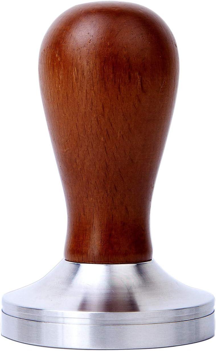 Espresso Tamper 58Mm- Heihox Espresso Coffee Tamper für Elegance Wooden Handle, Flat Stainless Steel Base, Barista Press Tamper