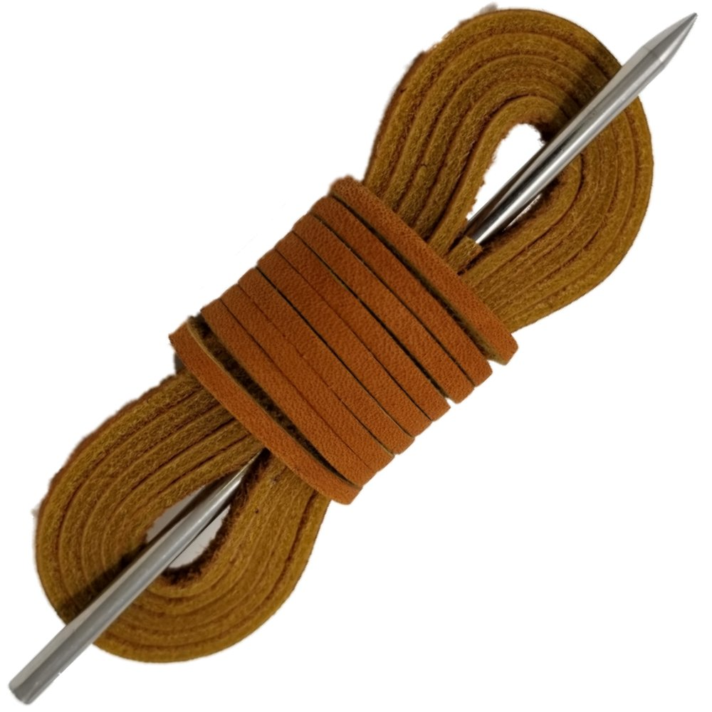 Boat Shoe Laces Leather By TOFL (Tan)