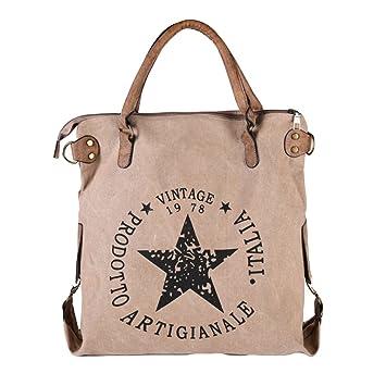 Handtasche Khaki//Beige Vintage Canvas Tasche Shopper Leder Schultertasche