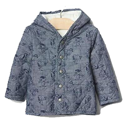 0efb687e1a26b Baby Gap Boys Girls Peanuts Snoopy Quilted Chambray Hoodie Jacket 0-3 Months