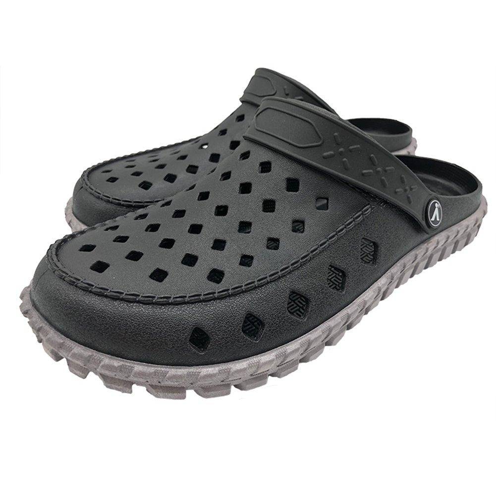 ERGGU Men's Garden Shoes Summer Clogs Comfy Slip on Slippers Go Walk Black&Gray42