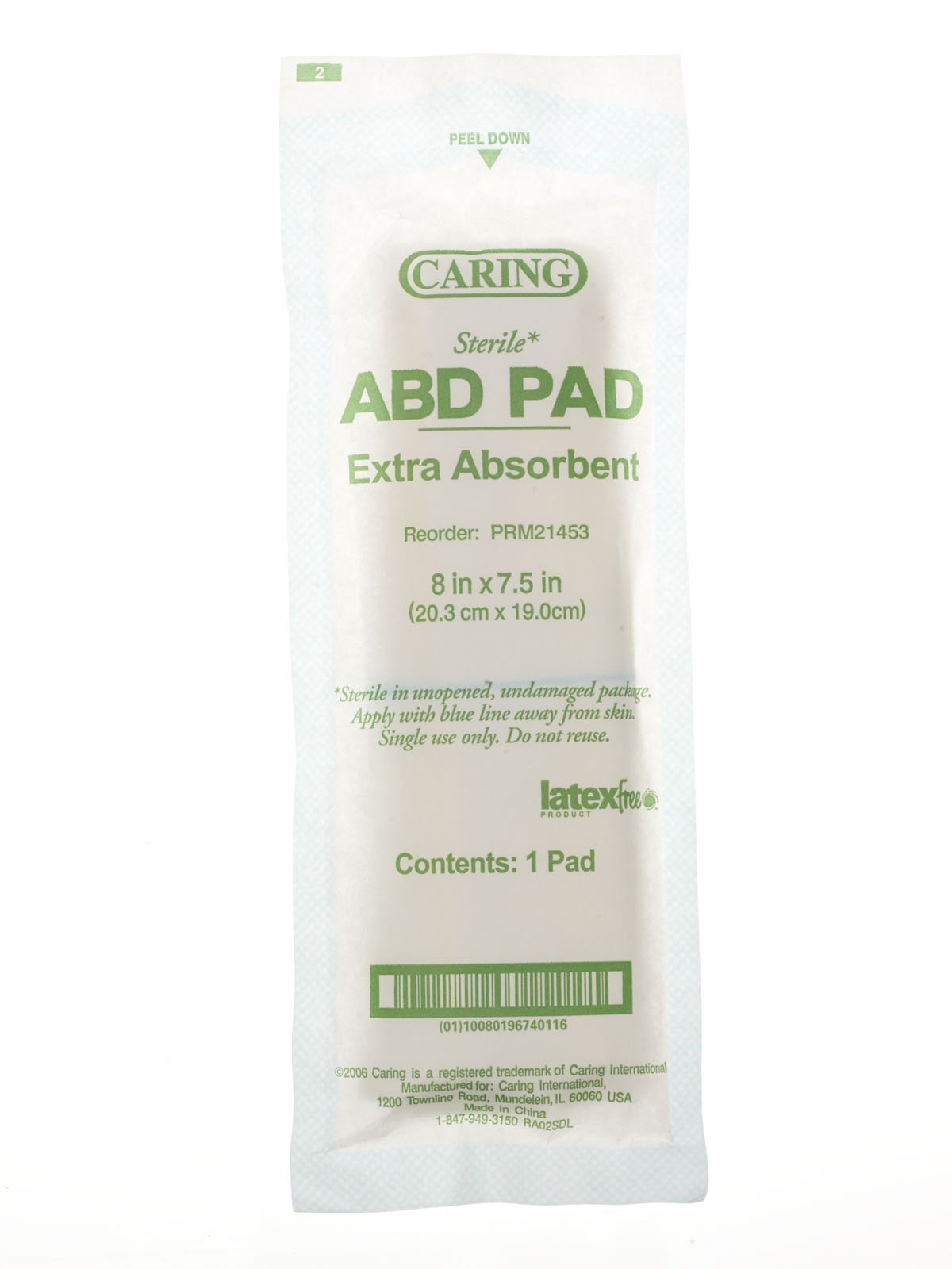 Medline Pad Abdominal Caring, 8 Inch x 7.5 Inch, 240 Count