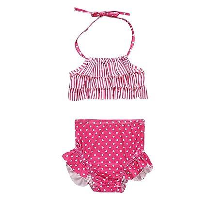 MOMKER Infant Newborn Kids Baby Striped Bikini Swimwear Swimsuit Bathing Suit