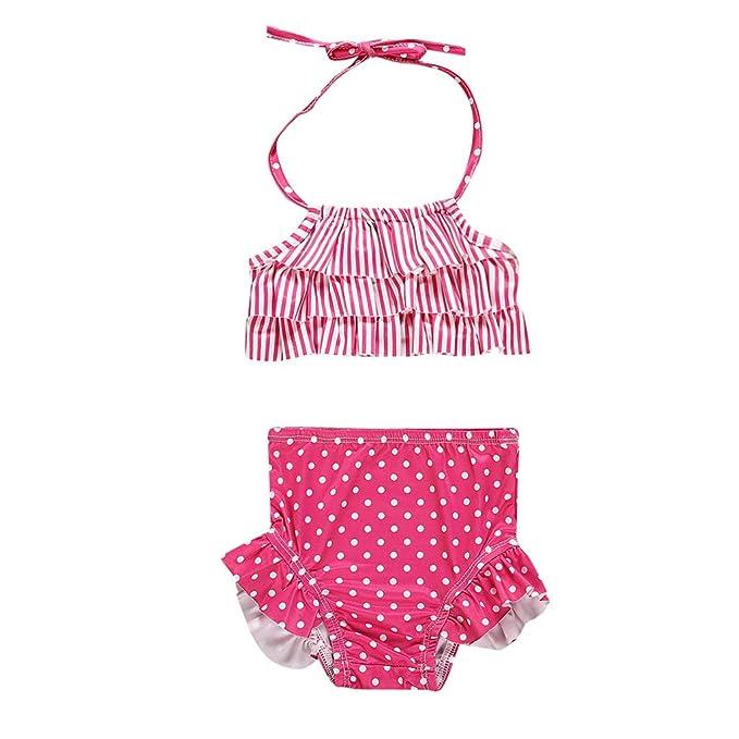 Mitlfuny Niño Traje de Baño Cuello Halter Bañador para bebé Niñas Bikini Tops de Raya Plisado ...