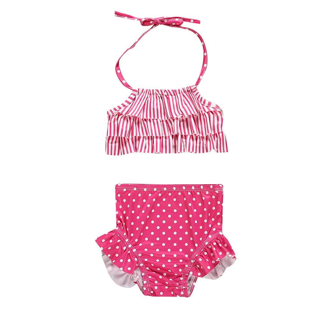 Nevera 2Pcs Swimsuit Toddler Baby Girl Ruffles Straps Dot Print Swimwear Bikini Set Hot Pink