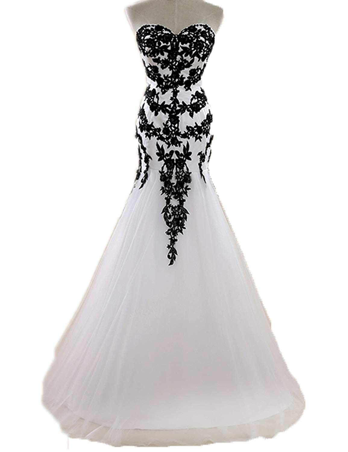 Joyvany Lace Applique Black And White Wedding Dress Tulle Long