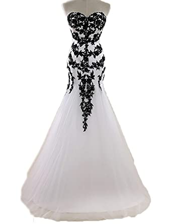 JoyVany Lace Applique Black and White Wedding Dress Tulle Long ...