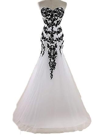 493e8d58e54 JoyVany Lace Applique Black and White Wedding Dress Tulle Long Bridal Ball Gowns  Ivory Black