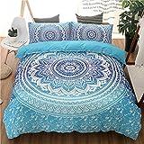 Mandala Flower Duvet Cover Set, Exotic Bohemian Bedroom Bedding Sets, Soft Microfiber Comforter Cover, Ethnic Quilt Cover with Pillowcases (3pcs, Full/Double, Blue)