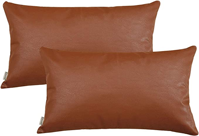 CARRIE HOME Faux Leather Lumbar Pillow