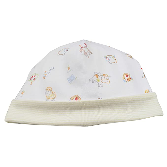 3657560db76 Amazon.com  Kissy Kissy Unisex-Baby Infant Green Acres Print Hat-White With  Yellow-Small  Clothing