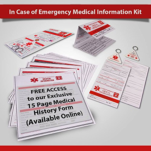 In Case of Emergency Contact Cards with Medical Alert, Two Premium Tri-Fold Wallet Cards, Two Key Fobs, I.C.E. ID Emergency Contacts, Allergies, Medical Information, Doctors. Plus printable forms! - Medical Information Cards