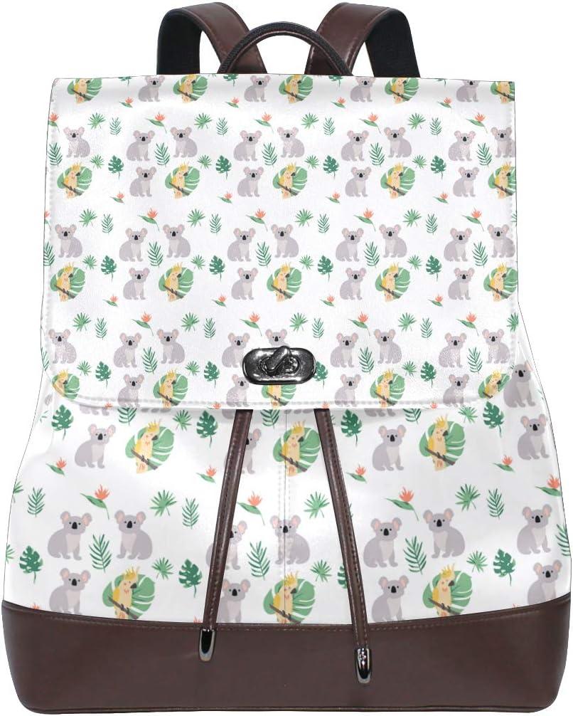 Leather Koala With Parrot /& Tropical Plant Backpack Daypack Elegant Ladies Travel Bag Women Men
