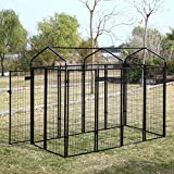 LAZYMOON Outdoor Welded Wire dog Pen Panels Heavy Duty Kennel Rainproof Cover Protection Cage, 8x4x6 Ft