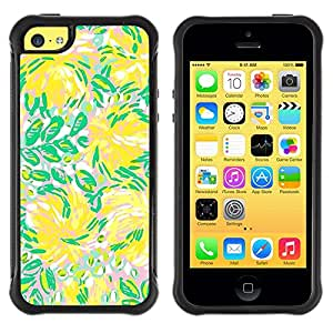 "Pulsar iFace Series Tpu silicona Carcasa Funda Case para Apple iPhone 5C , Verde Flores Flujo de Verano"""