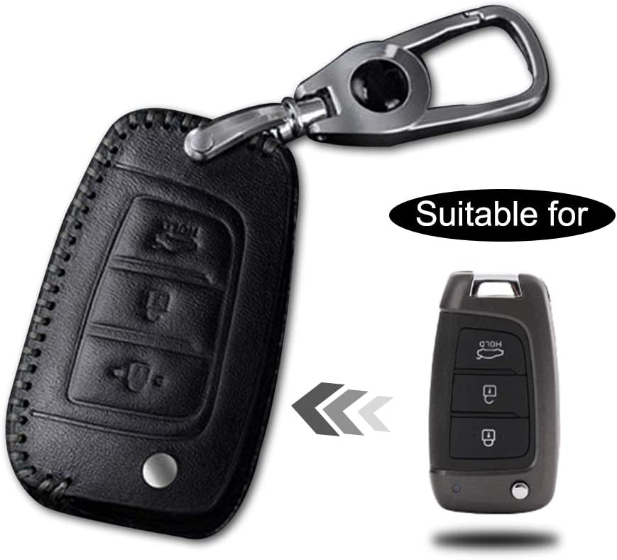 Leather Remote Case Car Key Bag Cover for HYUNDAI 3 Buttons Smart Key Luxury Genuine Hand Sew Black Line 1PC Type A