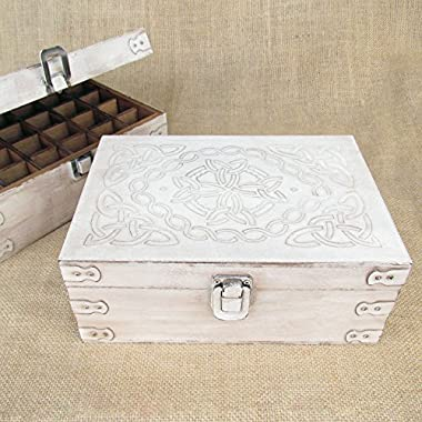 Antiqued White Celtic Design Wood Storage Box for 15ml Essential Oil Aromatherapy Bottles by Rivertree Life