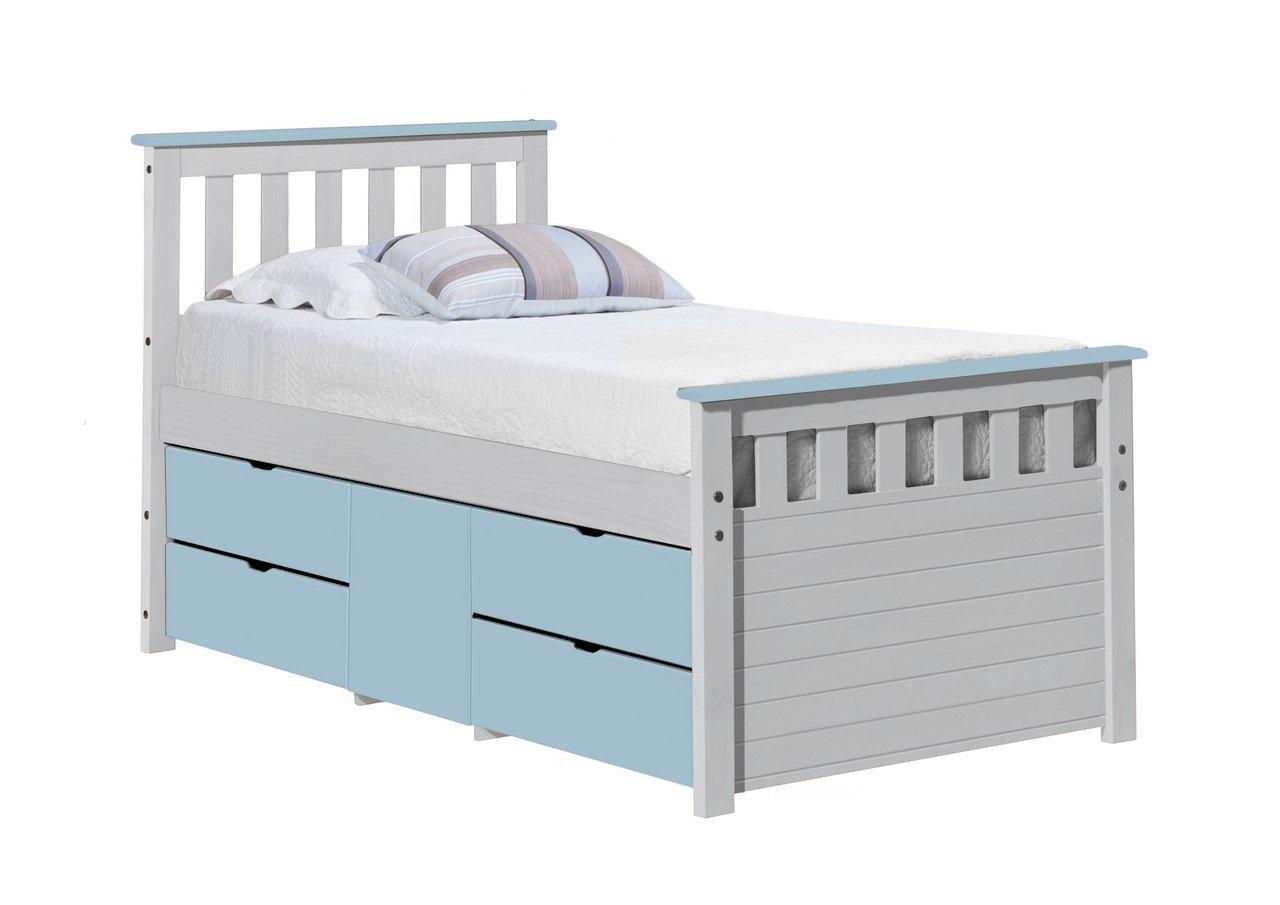 Design Vicenza Captains Ferrara Aufbewahrung Bett lang 3'0Weiß Baby Blau