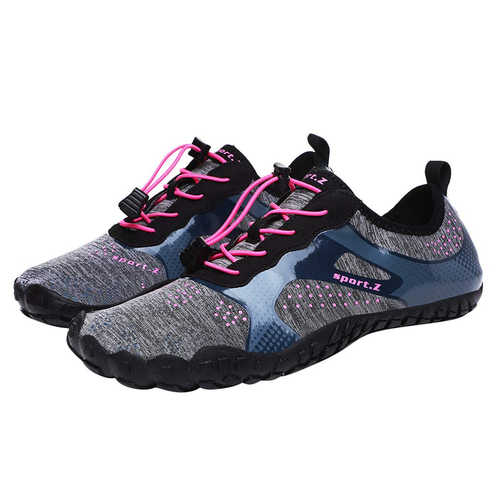 Unisex Quick-Dry Water Shoes Pool Beach Swim Drawstring Shoes Creek Diving Shoes Athletic Running Walking Gym Lace Up Soft Sole Work Sneakers (Pink, US:7.5-Foot Length:9.8'')
