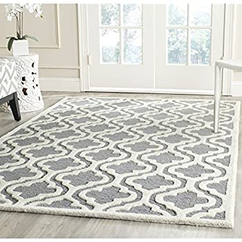 Safavieh Cambridge Collection CAM132D Handcrafted Moroccan Geometric Silver  And Ivory Premium Wool Area Rug (8