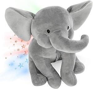Elephant Star Projector Night Light for Kids, Plush Elephant Stuffed Animal, Elephant Gifts for Bedroom Ceiling - INNObeta Elphy Grey