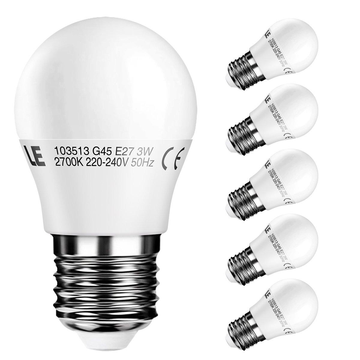 LE 5er E27 led Lampe 2700k warmweiß 3W entspricht 25W Glühlampe led ...