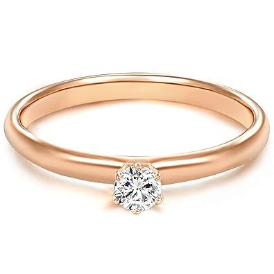 Tresor 1934 Anillo de Mujer / Anillo de compromiso / Solitario Plata de ley dorado oro rosa Circonitas blanco 60451009: Amazon.es: Joyería