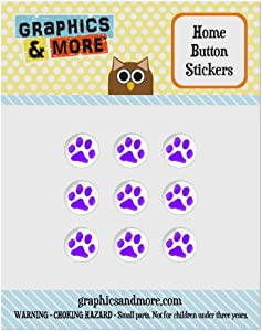 Set of 9 Puffy Bubble Home Button Stickers Fit Apple iPod Touch, iPad Air Mini, iPhone 4/4s 5/5c/5s 6/6s Plus - Paw Print - Purple