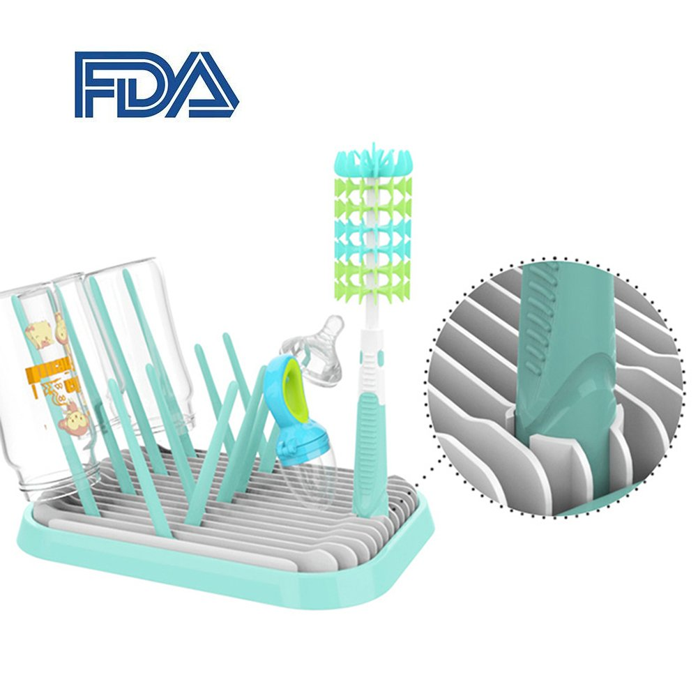 Baby Bottle Drying Rack with Bottle Cleaning Brush Set, BPA-Free Foldable Bottle Drying Rack, Countertop Dryer Stand for Infant Bottles and Feeding Accessories Qise