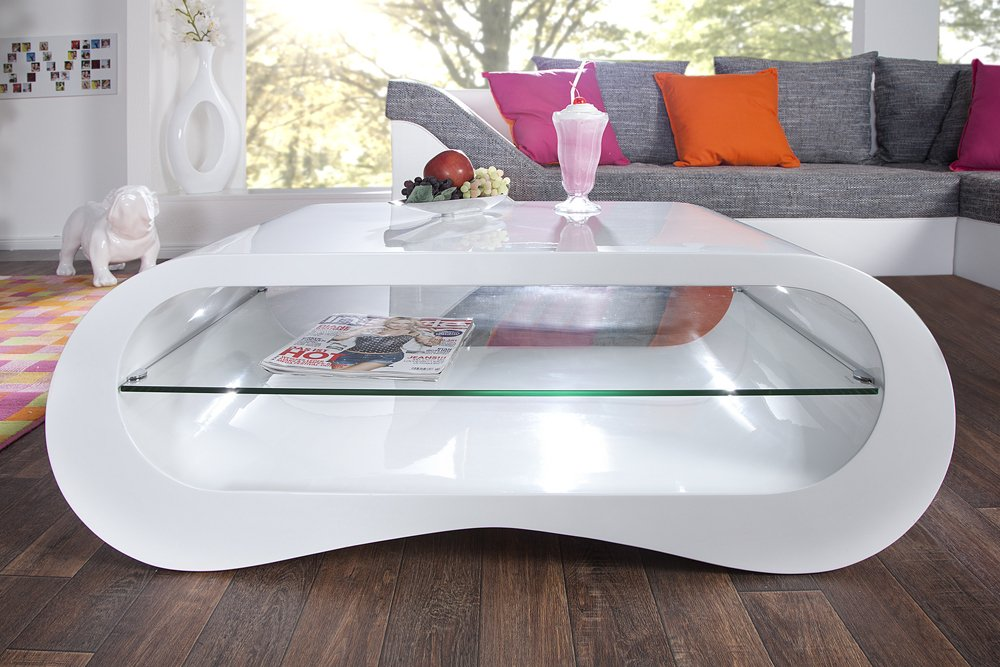 Design Couchtisch MANHATTAN weiß Hochglanz 110 cm inklusive ...