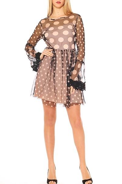 cc9edc57c1cd Vestito Donna Elegante in Tulle Fantasia Pois con macramè  Amazon.it   Abbigliamento