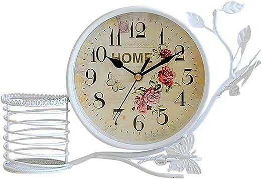 S.W.H Reloj de Mesa Decorativo con Flor y Mariposa Diseño para ...