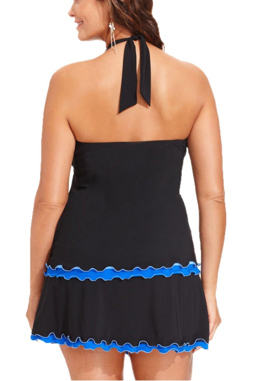 Summer Mae Damen Badekleid Plus Size Gekräuselt Figurformender Tankini  Badeanzug Swimsuit: Amazon.de: Bekleidung