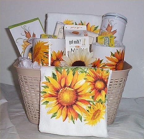 Amazon.com: Sunflower Gift Basket 2 Mugs 2 Kitchen Towel Lemon Tea Cookies Candy Cocoa #3: Everything Else