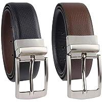 Keviv Men's PU-Leather Formal, Casual Reversible Belts For Men || Black/Brown || (Pack of 1) {1-Belt}