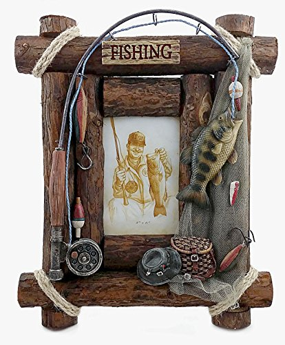 Fishing Picture Frame, 4x6 Photo, Hand-painted (Fishing Frame)