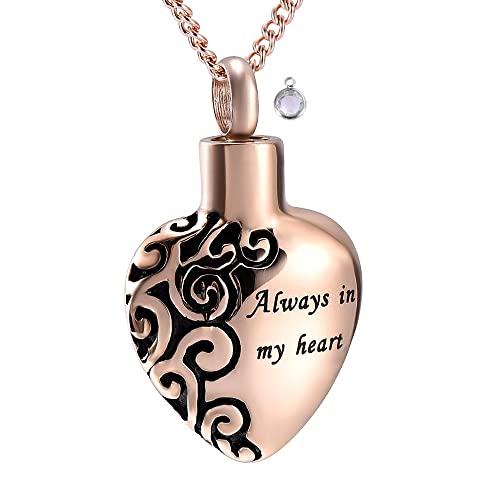 Ashes Holder Urn Necklace for Ashes Always in My Heart Urn Keepsake Necklace Urn Pendant Rose Gold Hourglass Memorial Necklace for Ashes