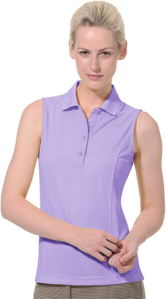 Monterey Club Ladies Dry Swing Solid Lightweight Pique Sleeveless Polo #2064