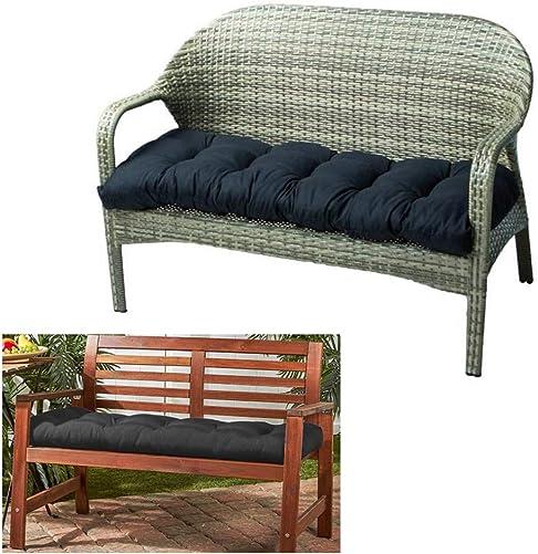 Outdoor Bench Seat Cushion Cotton Garden Furniture Loveseat Cushion Patio Non-Slip Lounger Chairs Back Cushions Seat Pillows Black