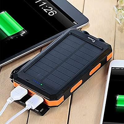 Solar Charger 20000mAh Power Bank, Portable Charger Solar Phone Charger with 2 USB Port 2 LED Light External Battery Pack for Emergency Travelling ...