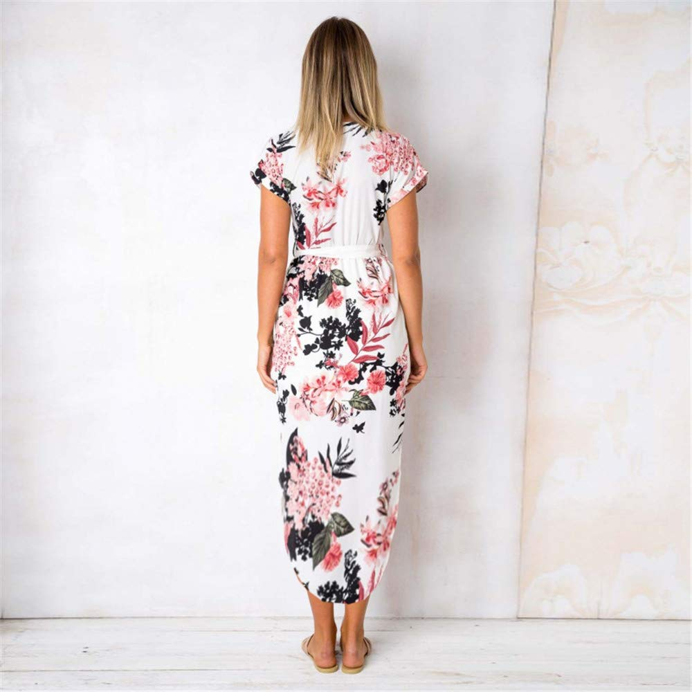 LitBud Womens Summer Dresses for Women Ladies Short Sleeve Casual Work Party Belted Shift Midi Tunic Dress Floral White Plus Size 12 14 XXL
